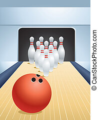 bowling - Red bowling ball smashing pins