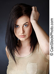 woman with dark hair in bob - beautiful young woman with...