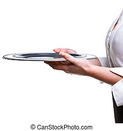 Waitress holding a silver tray isolated on white.