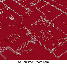 blueprint - house planning cad on red background