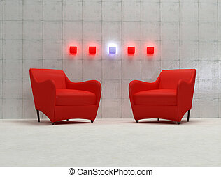 3d red armchair with concrete wall and neon lamp -3d...