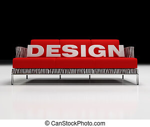 design logo on red and zebra sofa -3d rendering