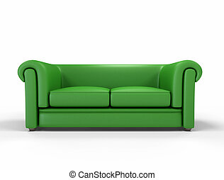 green leather sofa isolated on white background -digital...
