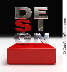 metal design logo on red chamfer box -3d rendering