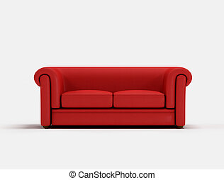 Red classic sofa on white background -digital artwork