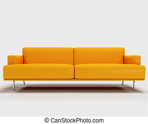 orange sofa isolated on white background - 3d rendering
