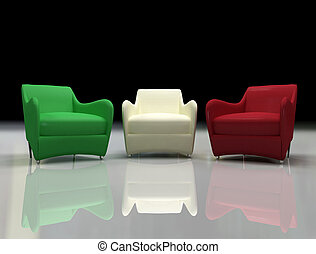 three design armchair with the color of italian flag -3d...