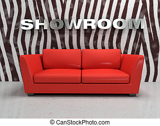 virtual showroom with red sofa and wall with zebra fur