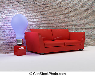 living room with red sofa and design blue lamp