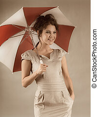 sexy brunette girl with umbrella