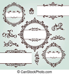 vintage design elements - set of vector floral vintage...