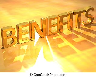 Gold Benefits - 3D Gold Benefits text on yellow background