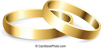 Wedding Rings - 2 Gold Wedding Rings, Isolated On White...