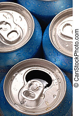 Top view of aluminum beverage cans with one open - A top...