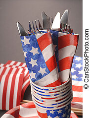 Knives and forks in a 4th of July setting