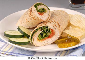 A turkey wrap with swiss cheese, pickles, cucumbers and...
