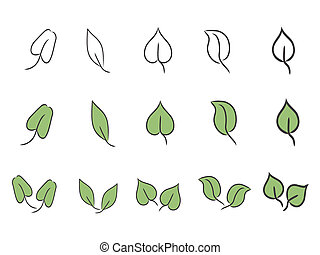 leaf icon set  - simple leaf icon set for design
