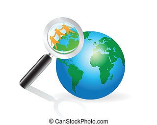 magnifying glass searching on earth