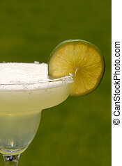 Vertical view margarita with a slice of lime - A vertical...