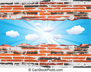 Grunge red brick with blue sky