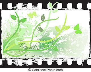 Grunge floral film frame