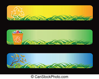 Green recycling banner