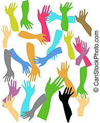 colorful hands background - colorful hands on white...