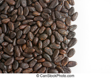 Cocoa beans from Madagascar isolated on white background