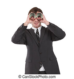 business man with binoculars - business man in black suit...