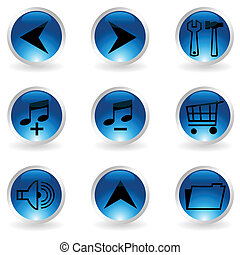 Set of musical buttons