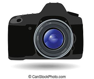 Reflex camera - Grey reflex camera on a white background