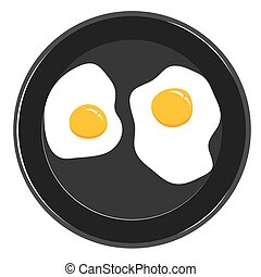 Omelette and frying pan on a white background