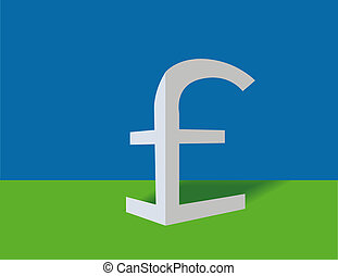 Paper pound sterling - Symbol of pound sterling on a blue...