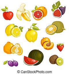 Fruits Set isolated.  Illustration.