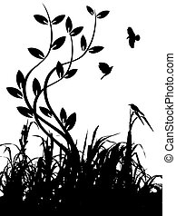 Grass and birds silhouette