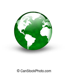 Green Earth icon - Illustration of a green earth icon