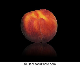 Fresh peach on a black background
