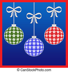 Colorful christmas ornaments with ribbons illustration