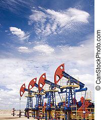 Oil field - Pump jacks on a oil field