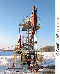 Pump view 2 - Oil pump jack in work Oil industry in West...