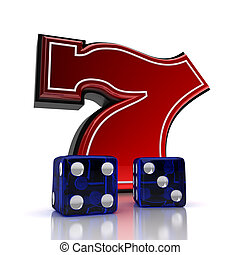 Lucky number seven with dice over white background