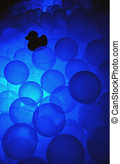 Blue ball pool in the light sensory - Glowing blue ball pool...