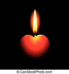 It will long burn - Burning candle in the form of heart on a...