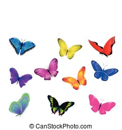 Invasion of butterflies - Set from ten of multicolored...