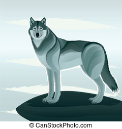 Beautiful wolf - Grey wolf against the stylized landscape