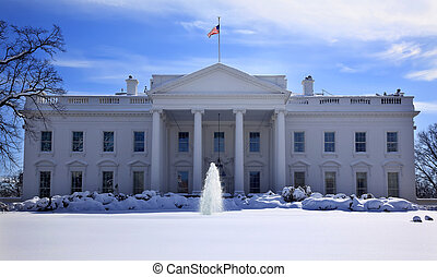 White House Fountain Flag After Snow Pennsylvania Ave...
