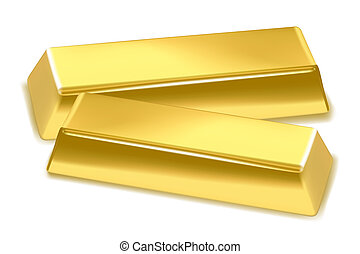 gold bricks - illustration of gold bricks on white...