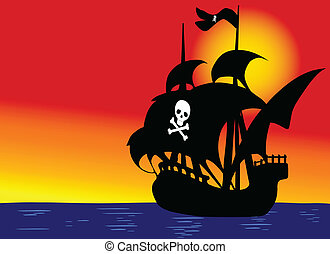pirate boat on blue sea vector illustration