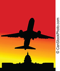 plane crosses the old buildings vector illustration