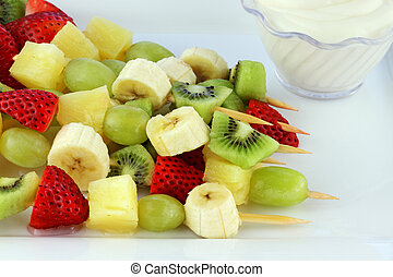Fruit Kebab - Fresh fruit Kebab made of strawberries,...